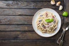 Pasta di Carbonara degli spaghetti Fotografie Stock