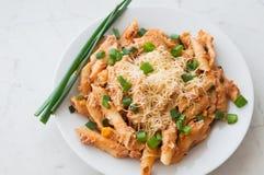 Pasta di Penne con i tonnidi sani, formaggio e cipolla di inverno o foglie tagliata della cipolla di inverno Immagine Stock