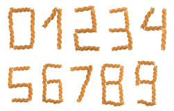 Pasta digits. Italian pasta forming font numbers from 0 to 9 Stock Photography