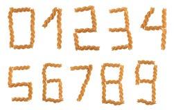 Pasta digits Stock Photography