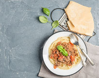 Pasta dinner. Spaghetti Bolognese in metal plate  with Parmesan cheese, grater and fresh basil over grey concrete Stock Photo