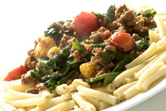 Pasta dish # 2. Pasta with mince and tomato and spinach Stock Photography