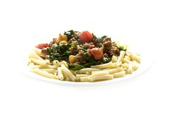 Pasta dish # 3. Pasta with mince and tomato and spinach Stock Photos
