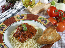 Pasta dish. With elk meat sauce royalty free stock photo