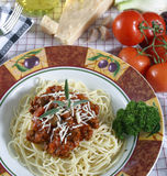 Pasta dish. With elk meat sauce stock photo