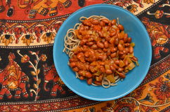 Pasta dish with beans Royalty Free Stock Image