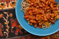 Pasta dish with beans Royalty Free Stock Photography