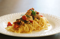 Pasta dish. Chicken and veggies sauce for pasta dish. Fresh and easy cooking royalty free stock image