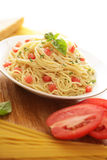 Pasta dish with copy space Royalty Free Stock Photo