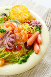 Pasta dish with octopus and shrimps Stock Images