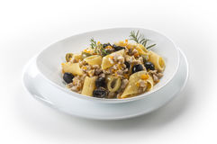 Pasta dish with rabbit meat sauce Royalty Free Stock Photography