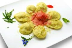 Pasta Dish Ravioli Stuffed with Shellfish and Sauce Wild Berries Stock Photos