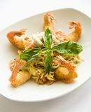 Pasta dish with shrimp. Stock Photo