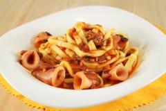 Pasta dish with squid. Italian Pasta dish with squid Stock Photo