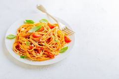 Pasta dish with tomato sauce on white plate Royalty Free Stock Photography