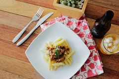 Pasta Dish on White Plate Stock Photography
