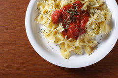 Pasta Dish on wood table Royalty Free Stock Images