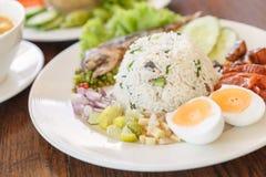 Pasta do pimentão com cavala fritada e alimento tailandês vegetal, foo tailandês foto de stock royalty free