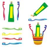 Pasta do zębów i toothbrush wektory ustawiający obrazy stock