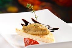 Pasta dos gras de Foie do aperitivo no brinde imagem de stock royalty free