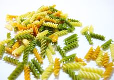 Pasta - Dried tri-colored fusilli Stock Photos