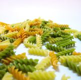 Pasta - Dried tri-colored fusilli Royalty Free Stock Image