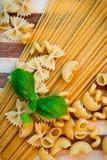 Pasta e basilico grezzi immagine stock libera da diritti