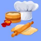 Pasta e matterello su un bordo di legno Cuoco unico Cap del cuoco unico Fotografie Stock