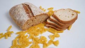 Pasta e pane Prodotti dalla farina di frumento con glutine fotografia stock