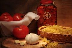 Pasta e pomodori fotografie stock libere da diritti