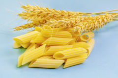 Pasta and ears of wheat on light blue Stock Photos