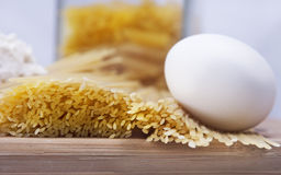 Pasta and egg royalty free stock photos