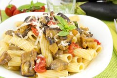 Pasta with eggplant Stock Photography