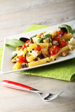 Pasta with eggplant, cherry tomatoes and mozzarella. On complex background Royalty Free Stock Images