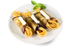 Pasta with eggplant rolls Royalty Free Stock Photos
