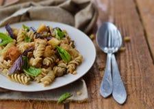 Pasta with eggplant Stock Photos