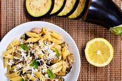 Pasta with eggplant, tuna and mint Royalty Free Stock Image