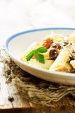 Pasta with eggplants Stock Photos