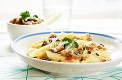 Pasta with eggplants Stock Image