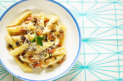 Pasta with eggplants Royalty Free Stock Photo