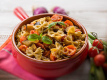 Pasta with eggplants and pachino Royalty Free Stock Images