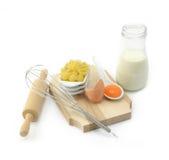 Pasta, eggs and milk Stock Image