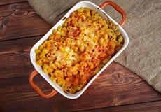 Pasta Elbow macaroni  bake with pancetta Royalty Free Stock Images
