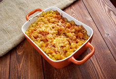 Pasta Elbow macaroni  bake with pancetta Stock Images