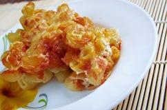 Pasta Elbow macaroni  bake with pancetta Stock Photos