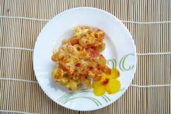 Pasta Elbow macaroni  bake with pancetta Royalty Free Stock Photos
