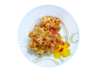 Pasta Elbow macaroni  bake with pancetta Stock Image