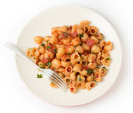 Pasta elbows arrabbiata from above Stock Images