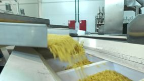 Pasta factory and pasta production stages. Close up of dry macaroni spilling from machine unit on modern food production stock video