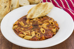 Pasta Fagioli. A bowl of traditional Pasta beans and veggies Royalty Free Stock Photography